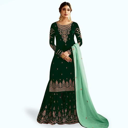 Energetic Dark Green Colored Partywear Embroidered Faux Georgette Palazzo Suit