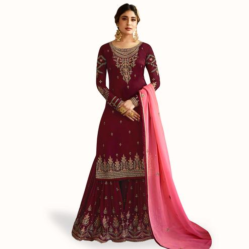 Exceptional Maroon Colored Partywear Embroidered Faux Georgette Palazzo Suit