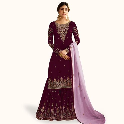 Magnetic Wine Colored Partywear Embroidered Faux Georgette Palazzo Suit