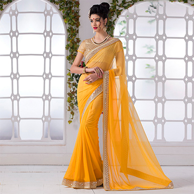 Yellow Border Work Chiffon Saree