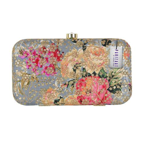 Elegant Grey Melange Colored Handcrafted Partywear Sequin Embroidered Clutch