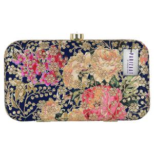 Radiant Navy Blue Colored Handcrafted Partywear Sequin Embroidered Clutch