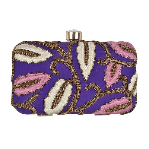 Energetic Purple Colored Handcrafted Partywear Embroidered Clutch