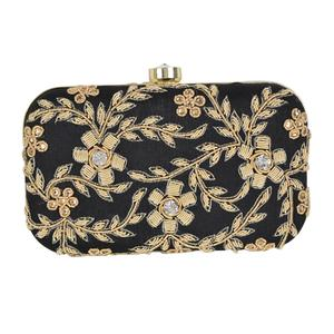 Stunning Black Colored Handcrafted Partywear Embroidered Clutch