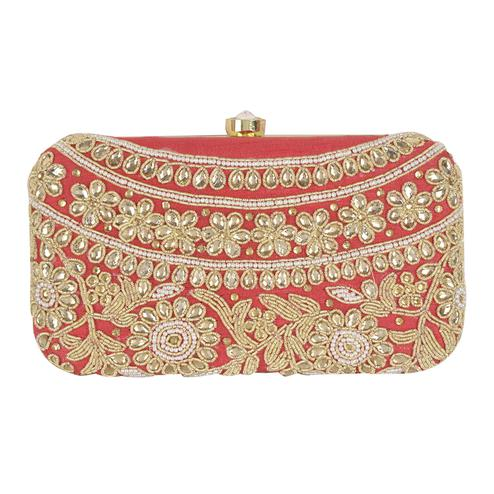 Adorable Red Colored Handcrafted Partywear Embroidered Clutch