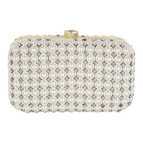 Beautiful White Colored Handcrafted Partywear Embroidered Clutch