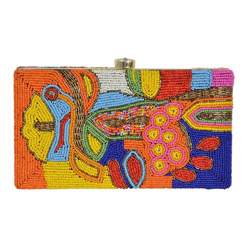 Blooming Multi Colored Handcrafted Partywear Embroidered Clutch