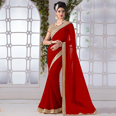 Red Plain Chiffon Saree