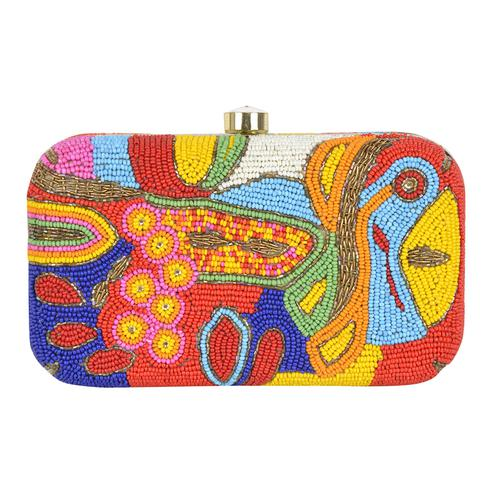 Charming Multi Colored Handcrafted Partywear Embroidered Clutch