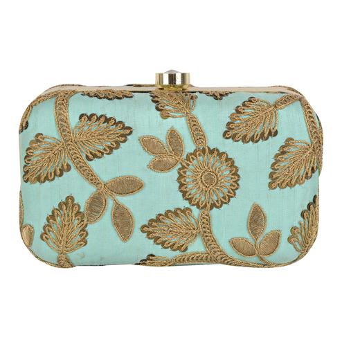 Delightful Turquoise Blue Colored Handcrafted Partywear Embroidered Clutch