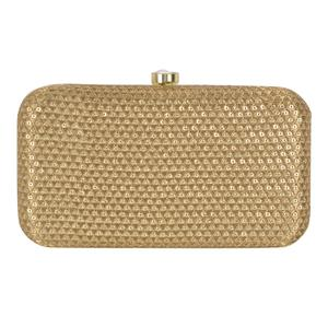 Engrossing Beige Colored Handcrafted Partywear Embroidered Clutch