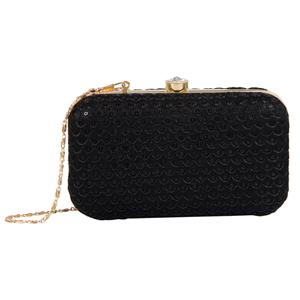 Captivating Black Colored Handcrafted Partywear Embroidered Clutch