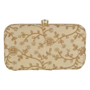 Innovative Beige Colored Handcrafted Partywear Embroidered Clutch