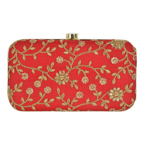 Eye-catching Red Colored Handcrafted Partywear Embroidered Clutch