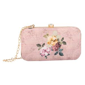 Amazing Peach Colored Handcrafted Partywear Embroidered Clutch