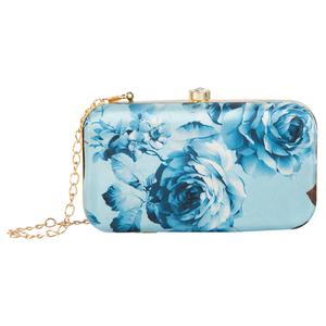 Blissful Turquoise Blue Colored Handcrafted Partywear Embroidered Clutch