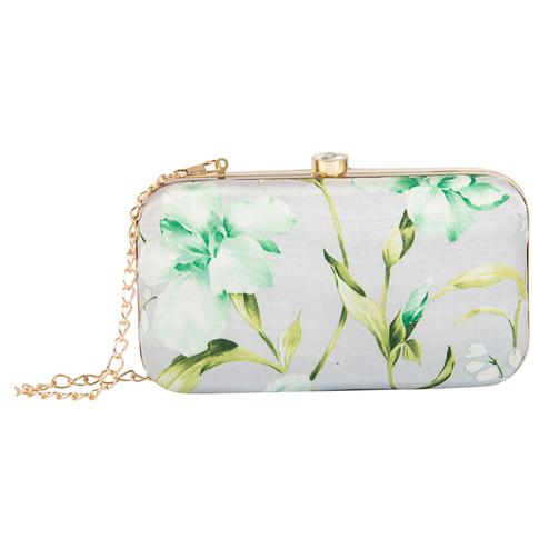 Lovely Grey Melange Colored Handcrafted Partywear Embroidered Clutch