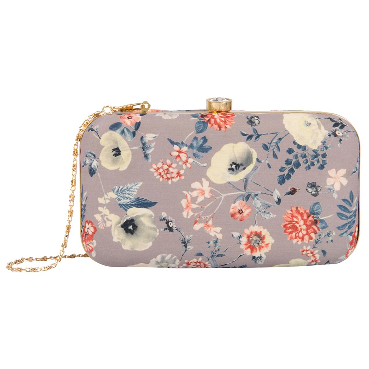 Impressive Grey Colored Handcrafted Partywear Embroidered Clutch