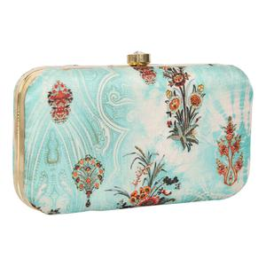 Breathtaking Sky blue Colored Handcrafted Partywear Embroidered Clutch
