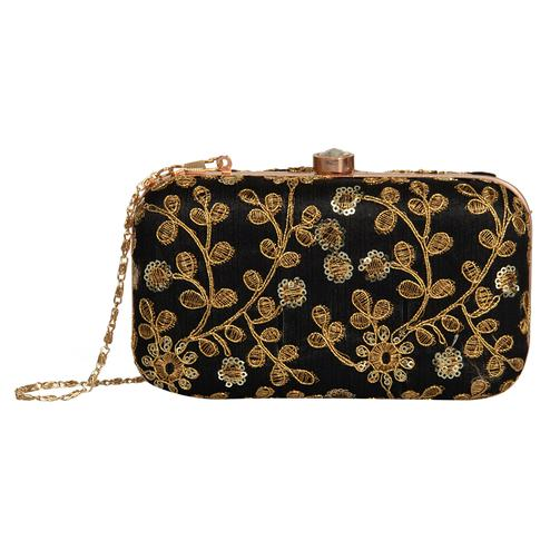 Ethnic Black Colored Handcrafted Partywear Embroidered Clutch
