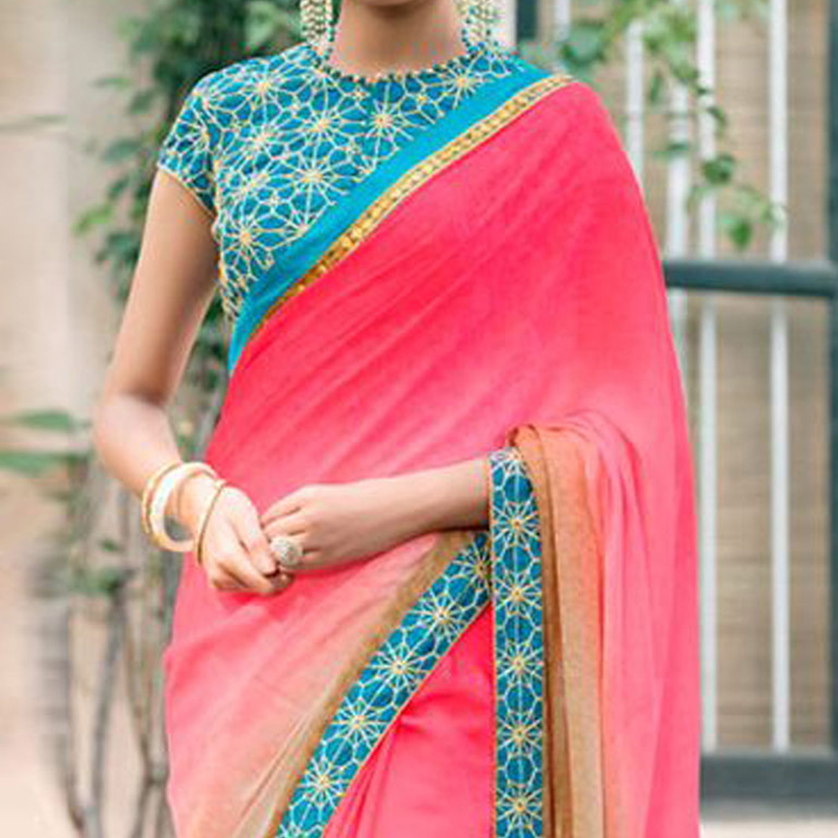 Pink - Beige Lace Work Saree with Embroidered Blouse