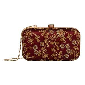 Ravishing Maroon Colored Handcrafted Partywear Embroidered Clutch