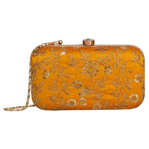 Staring Mustard Colored Handcrafted Partywear Embroidered Clutch