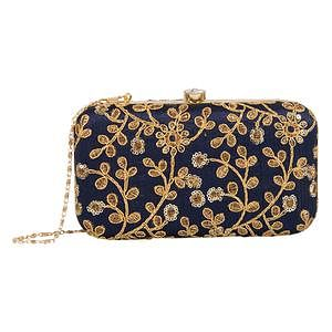 Surpassing Navy Blue Colored Handcrafted Partywear Embroidered Clutch