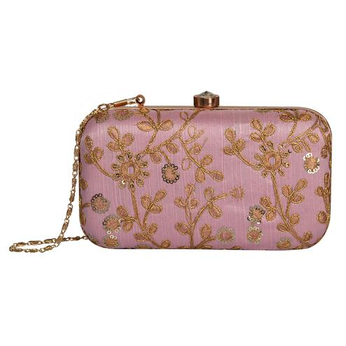 Arresting Baby Pink Colored Handcrafted Partywear Embroidered Clutch