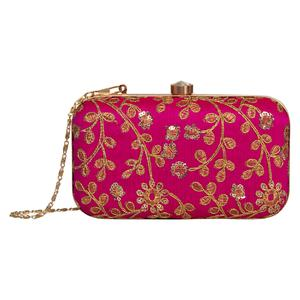 Exotic Hot Pink Colored Handcrafted Partywear Embroidered Clutch