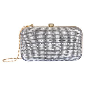 Sophisticated Blue Colored Handcrafted Partywear Embroidered Clutch