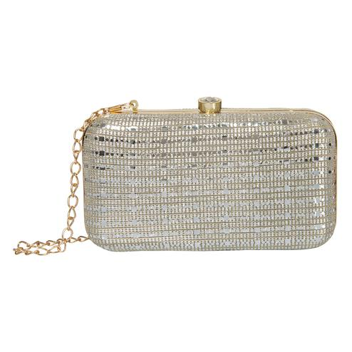 Trendy Silver Colored Handcrafted Partywear Embroidered Clutch