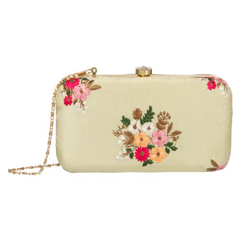 Elegant Yellow Colored Handcrafted Partywear Embroidered Clutch