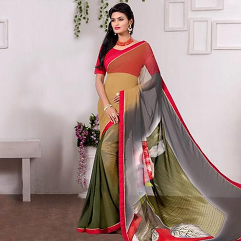 Grey - Green Casual Wear Printed Saree