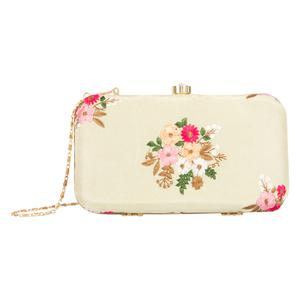 Radiant Beige Colored Handcrafted Partywear Embroidered Clutch