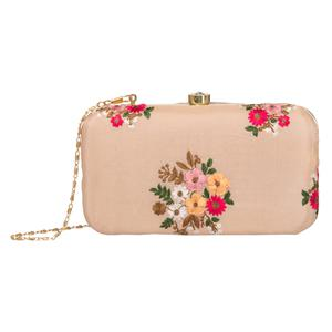 Pleasant Peach Colored Handcrafted Partywear Embroidered Clutch