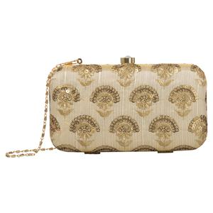 Opulent Beige Colored Handcrafted Partywear Embroidered Clutch