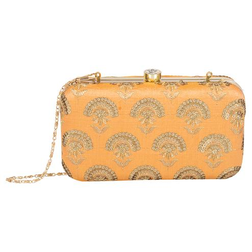 Energetic Peach Colored Handcrafted Partywear Embroidered Clutch
