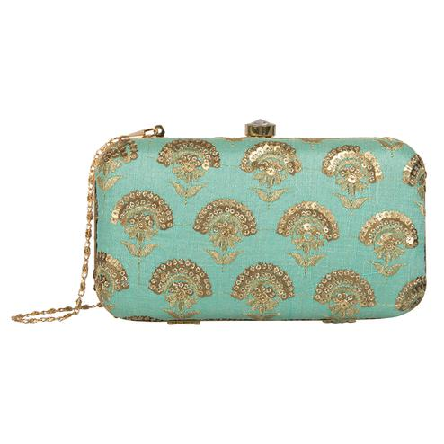 Glowing Turquoise Blue Colored Handcrafted Partywear Embroidered Clutch