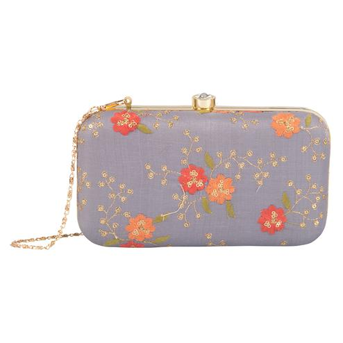 Exceptional Grey Colored Handcrafted Partywear Embroidered Clutch