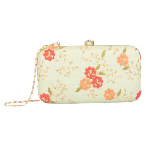 Gleaming Pista Green Colored Handcrafted Partywear Embroidered Clutch