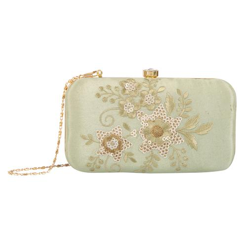 Unique Bottle Green Colored Handcrafted Partywear Embroidered Clutch