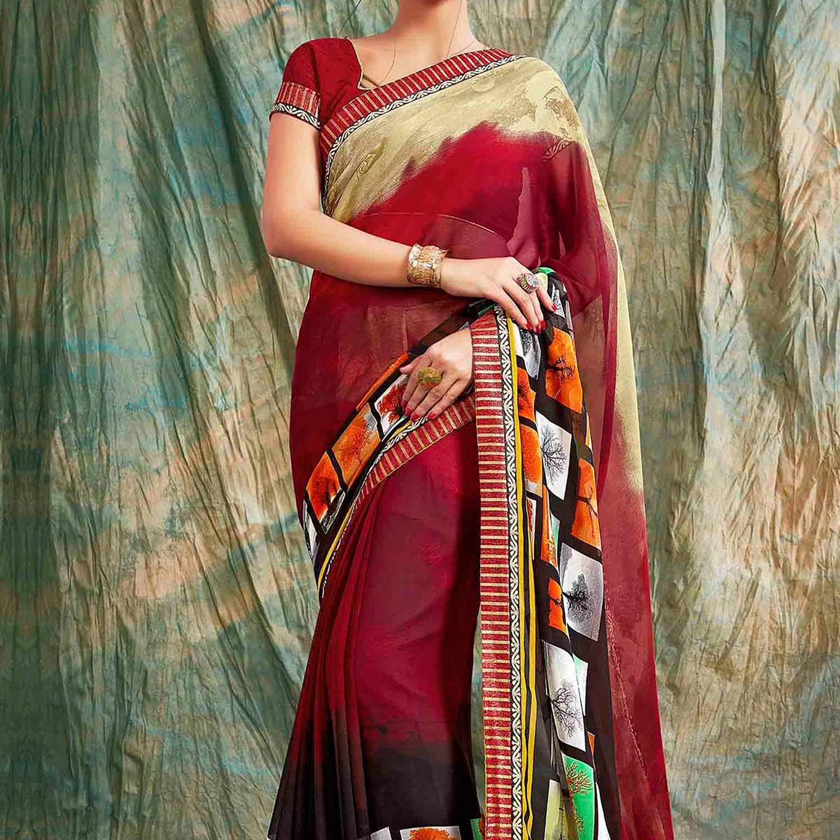 Maroon Casual Wear Georgette Saree