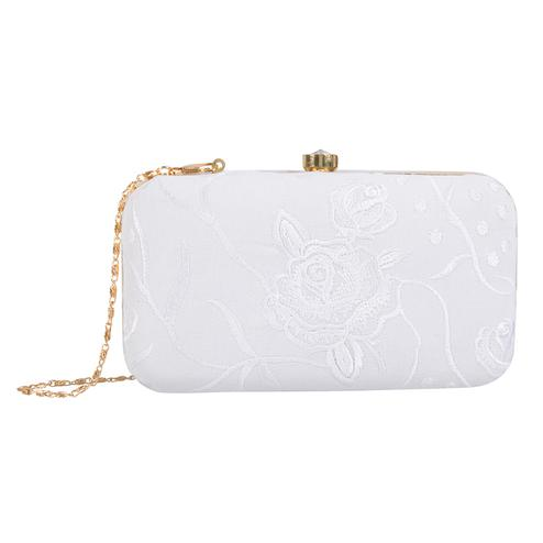 Flattering White Colored Handcrafted Partywear Embroidered Clutch