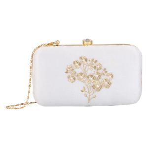 Excellent White Colored Handcrafted Partywear Embroidered Clutch
