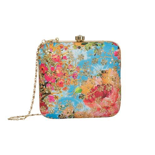 Flamboyant Sky blue Colored Handcrafted Partywear Embroidered Clutch