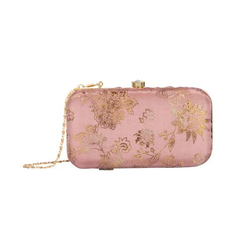 Sensational Rusty Colored Handcrafted Partywear Embroidered Clutch