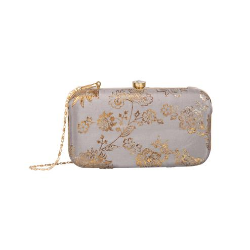 Flaunt Grey Melange Colored Handcrafted Partywear Embroidered Clutch