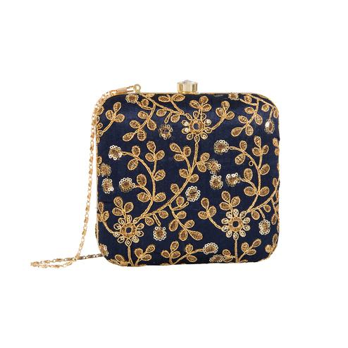 Flirty Navy Blue Colored Handcrafted Partywear Embroidered Clutch