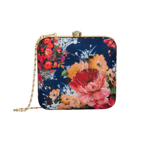Classy Navy Blue Colored Handcrafted Partywear Embroidered Clutch